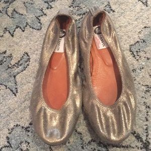Lanvin muted gold flats excellent condition